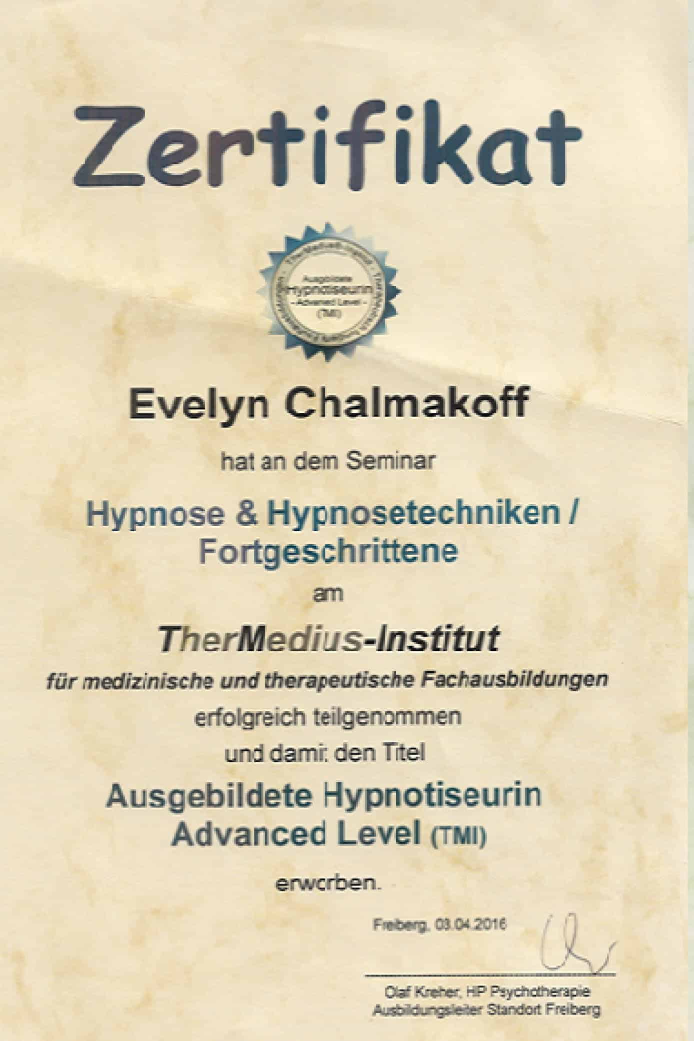 Ausgebildeter Hypnotiseur - Advanced Level